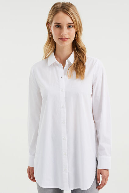 Damen-Relaxed-Fit-Bluse Weiß