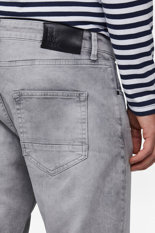 Herren-Relaxed-Cropped-Tapered-Jeans aus Comfort-Stretch Hellgrau