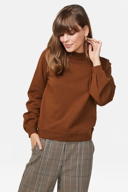 Damen-Sweatshirt mit Cut-Out-Detail Braun