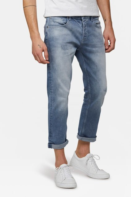 Herren-Relaxed-Cropped-Tapered-Jeans aus Comfort-Stretch Graublau
