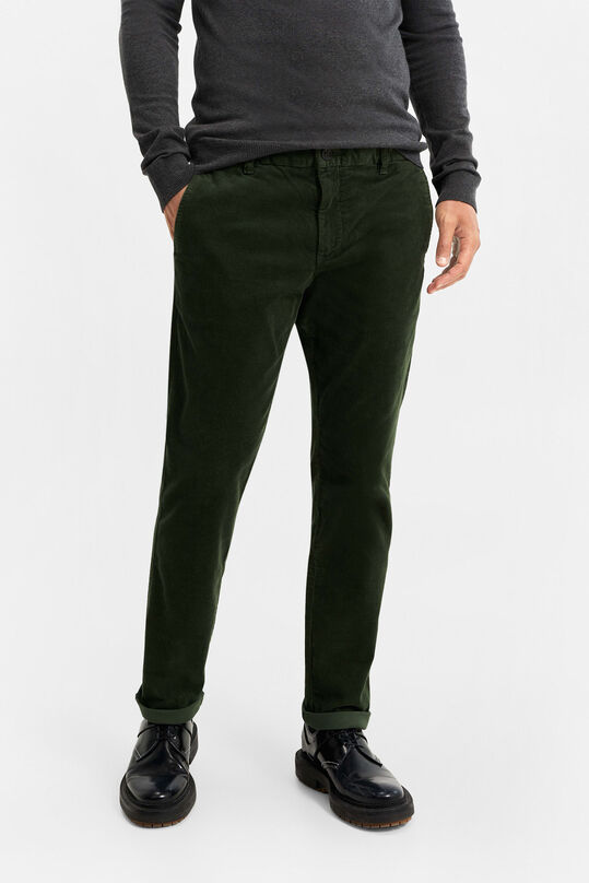 Herren-Slim-Fit-Chinos in Cord-Optik Dunkelgrün