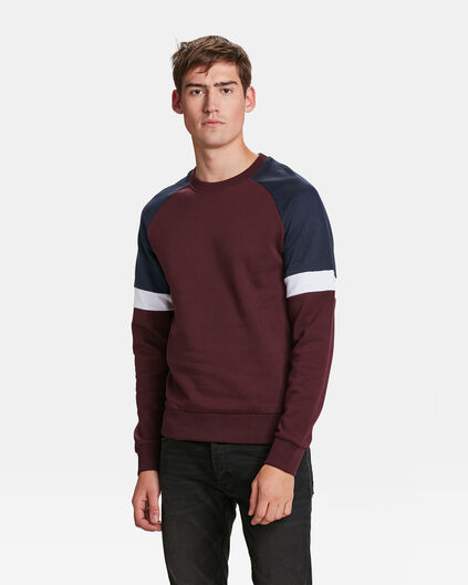 HERREN-SWEATSHIRT IN COLOURBLOCK-OPTIK Weinrot