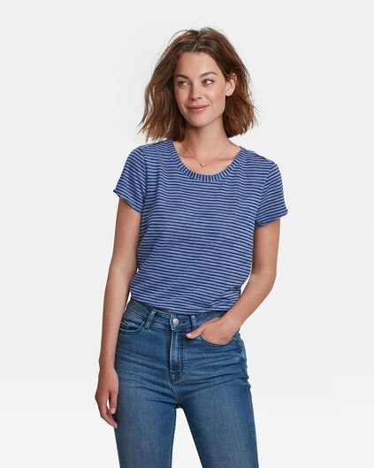 HALBTRANSPARENTES DAMEN-T-SHIRT Marineblau