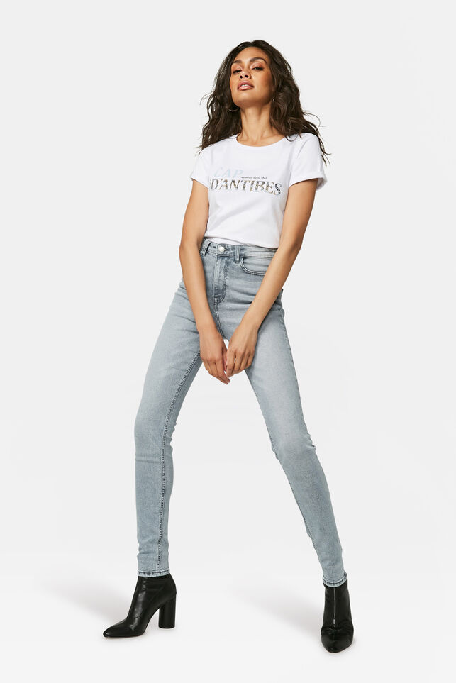 Damen-Superskinny-Jeans mit hoher Taille Grau