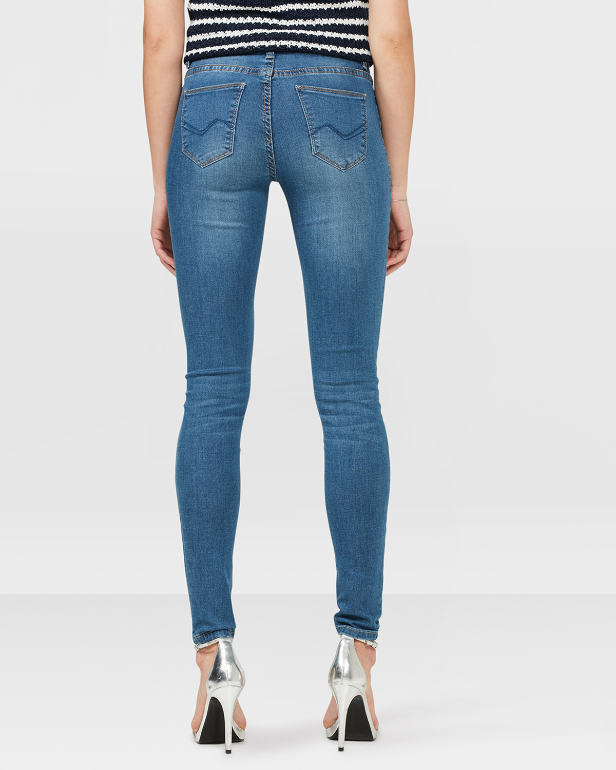 DAMEN MID RISE SUPER SKINNY RIPPED JEANS | 79333542 WE Fashion