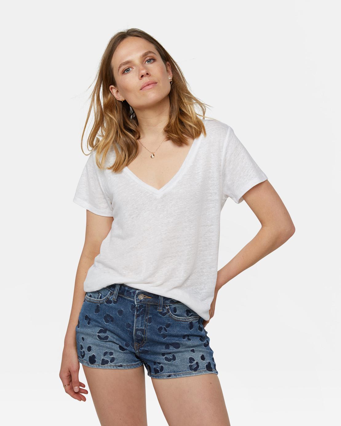 präsentieren klassischer Chic üppiges Design Damen-T-Shirt aus Leinen | 94513851 - WE Fashion