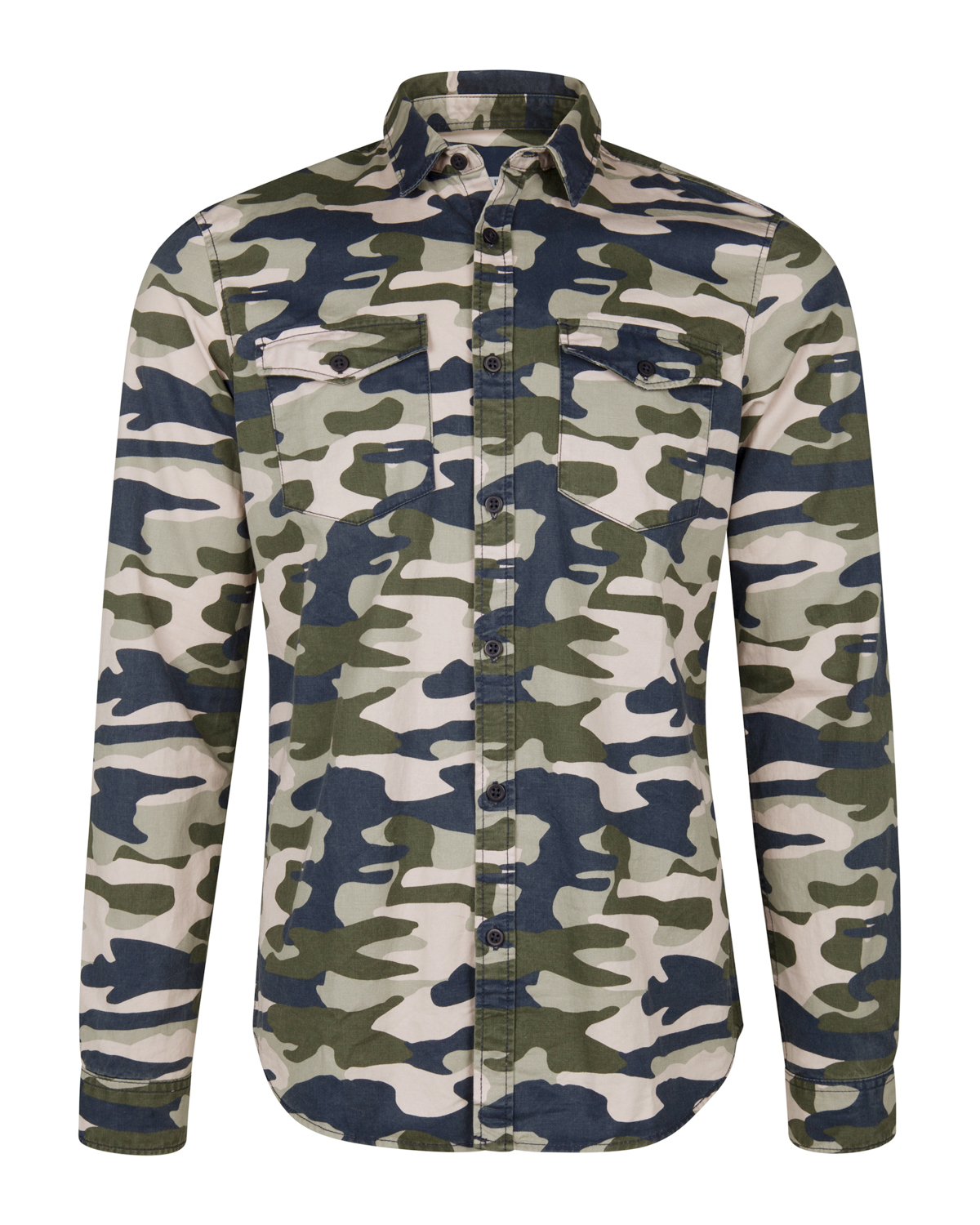 HERREN SLIM FIT HEMD MIT CAMOUFLAGE MUSTER | 85263741 WE Fashion